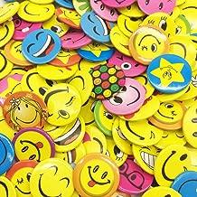 100 Pieces Mini Buttons, mini Smiley Smile Face Button Pins (1.2 Inch, Shipped Randomly)