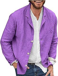 Syliababy Men's Blazer Casual Jacket Autumn Fashion Long Sleeve Casual Cotton Linen Loose Suit Jacket Plain Suit Top Sprin...
