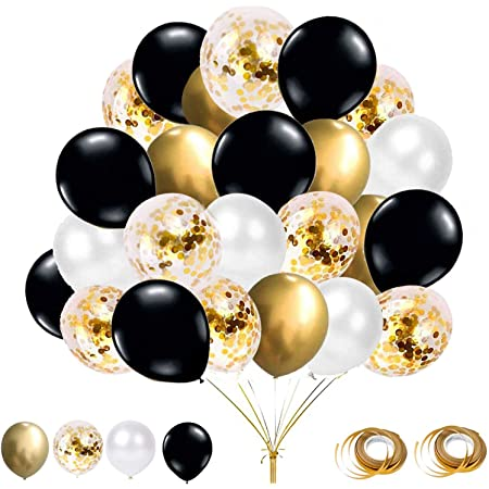 YELYAN 60Pcs Balloons Set, 12 Inches Gold Black and White Balloons Metallic Latex Balloons Confetti Balloons for Wedding Birthday Shower Party Decoration (Black+Gold)