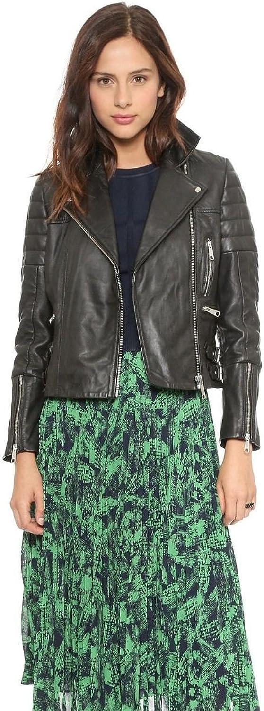 DOLLY LAMB Womens Leather Motorcycle Biker Short Black Coat Jacket Slim Zipper with Adjustable Waist