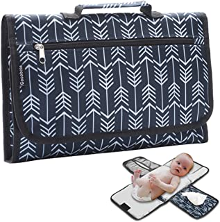 Baby Portable Diaper Changing Pad,COCOBELA Waterproof Portable Changing mat for Moms, Dads and Babies,Built-in Memory Foam Head Pillow, Pockets for Diapers, Wipes and Creams