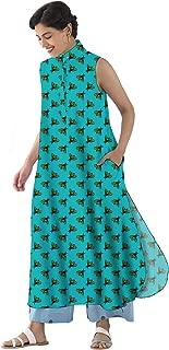 RADANYA Butterfly Print Cotton Casual Wear Cut Sleeve Dress Kurta Kurti for Women's