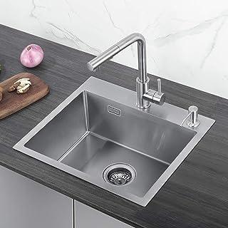 CECIPA Edelstahl Küchenspüle 50cm Unterschränke für Küchen Spülbecken,Einbauspüle 1 Becken Küchenspüle, Küchenspülbecken, Edelstahlspüle,Außenmaße 50 x 43 cm,inkl.Seifenspender