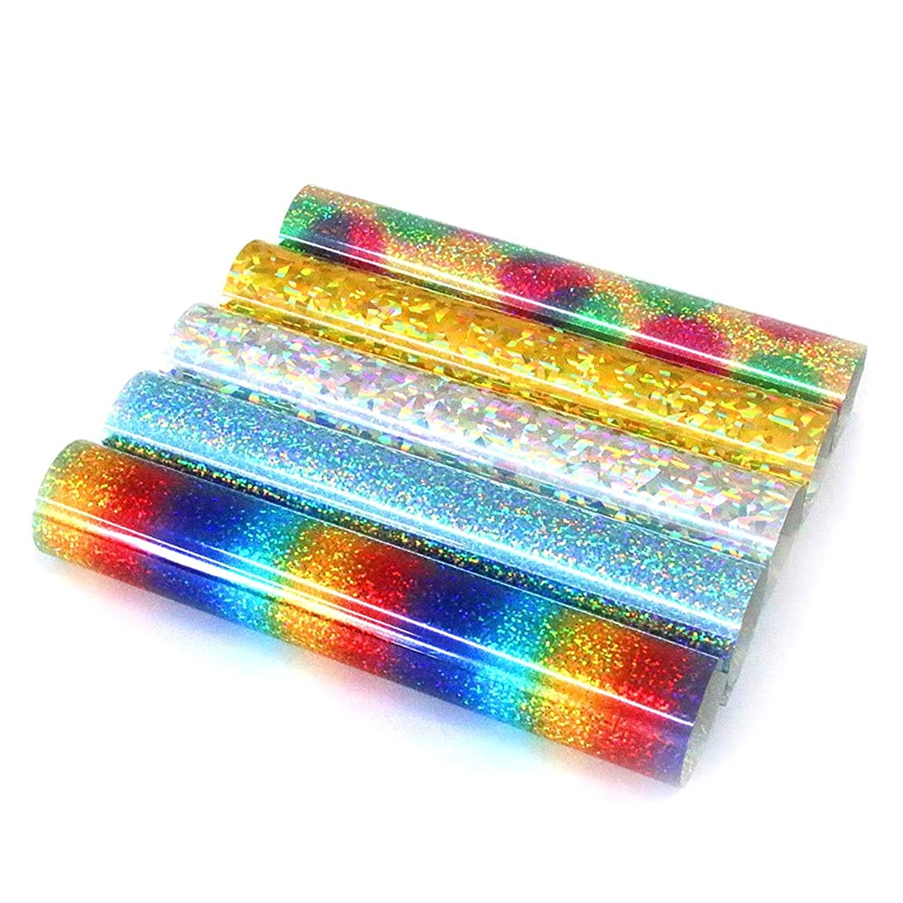Holographic Glitter Heat Transfer Vinyl Sheets Multi-Colors Rainbow Effect Iron On Vinyl HTV Bundle for T-Shirts, Bags and Garment, 12