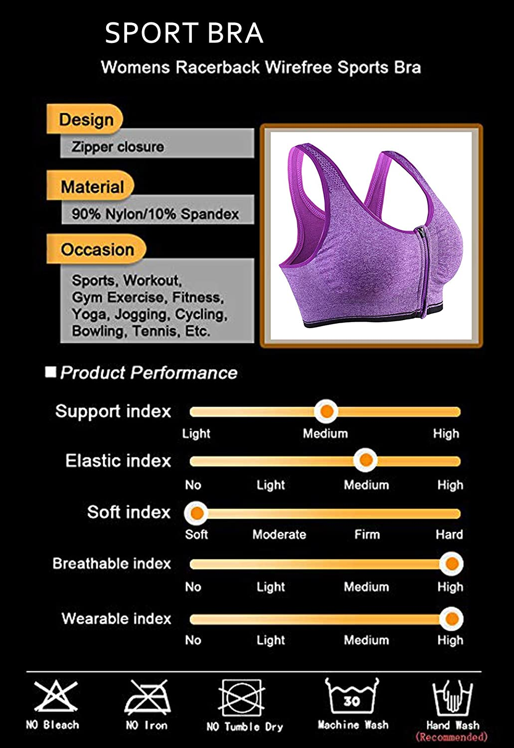 HOMETA Womens Zip Front Closure Sports Bra Seamless Wirefree Padded Racerback Yoga Bras Workout Gym