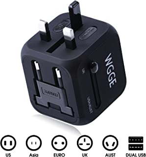 Travel Adapter,WGGE Multi-Nation Travel Adapter, All-in-one International Power Adapter with 2.4A Dual USB,Worldwide Power Adapter Wall Charger for US,UK,EU,AU,Asia Cover More than150 Countries