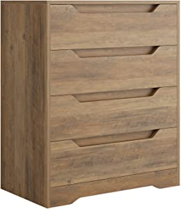 Modern 4 Drawer Dresser, Wood Chest of Drawers with Storage, Clothing Organizer with Cut-Out Handle, Storage Cabinet, Nightstand for Living Room, Bedroom, Hallway, Rustic Brown