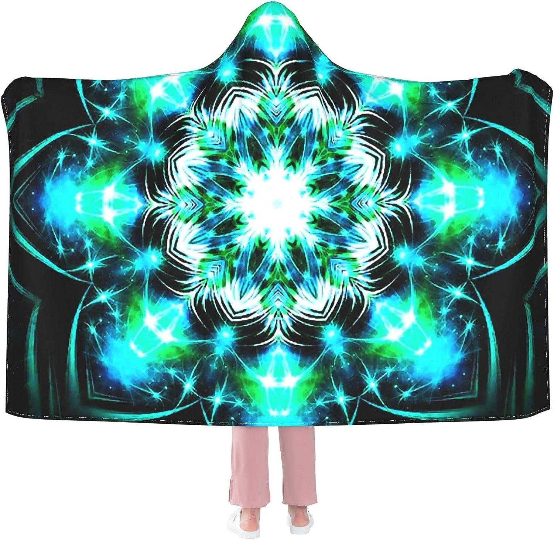 Throw BlankeMandala New Shipping Free Shipping Flower Max 75% OFF Blue Hoodie-Plush Cosy Blanket Warm B