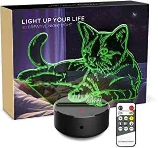 Night Light 3D Pet Cat 3D Lamp Optical Illusion Nightlight Animals Bedside Lamp 7 Colors Changing LED Lamps with Remote Birthday Gifts for Girls Kids Baby Boys and Room Decor (Pet cat)