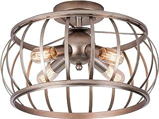 Alice House 18  4 Lights Semi Flush Mount Ceiling Light, Antique gold color, Rustic Pendant Light, Farmhouse Light Fixture,T45 Edison Bulb,Cage Lantern Lighting for Kitchen, Dining, Entryway,Bedroom