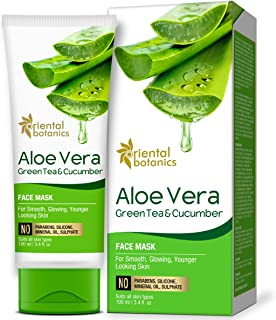 Oriental Botanics Aloe Vera, Green Tea & Cucumber Face Mask For Smooth, Glowing & Younger Looking Skin, 100ml