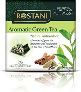 Rostani Green Tea with Cinnamon and Cardamom, Hot, Unsweetened, Individual Bags