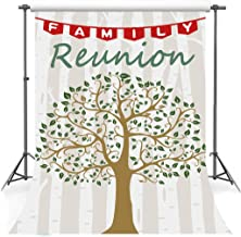Family Reunion Backdrop for Photgraphy, 5x7ft Soft Cotton, Family Trees Stripes Green Leaves Backgrounds, Family Party Decor Banner, Photo Shooting Props DSFS011