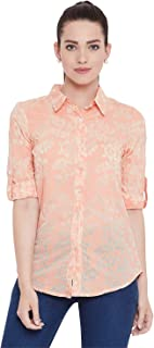AASK Womens Orange and Beige Color Floral Printed Cotton Shirt (US_1343)