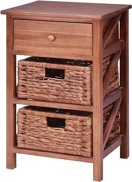 Giantex 3 层木质端桌 W 1 抽屉和 2 草篮床边沙发桌子组织者卧室客厅家用家具棕色床头柜 1