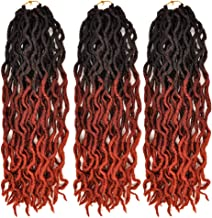 MSBELLE 5 Packs 24 Strands/Pack Goddess Faux Locs Crochet Hair 100g/Pack 18 Inch Curly Wave Synthetic Twist Hair Extensions for Women Ombre Black to Red Brown to 350#(1b/350#)