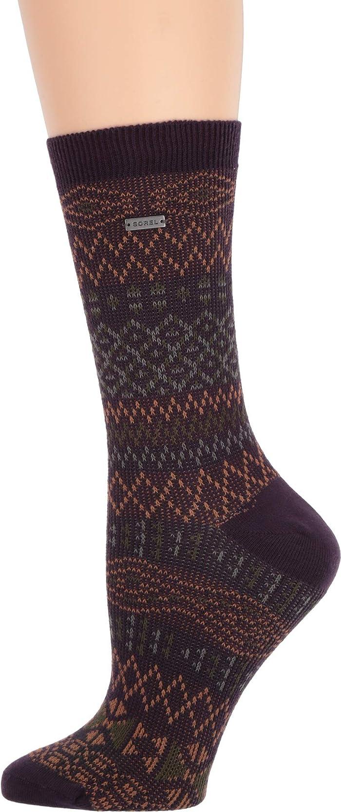 UPC 023616485597 product image for SOREL Cotton Jacquard Pattern Crew (Dark Plum) Women's Crew Cut Socks Shoes   upcitemdb.com