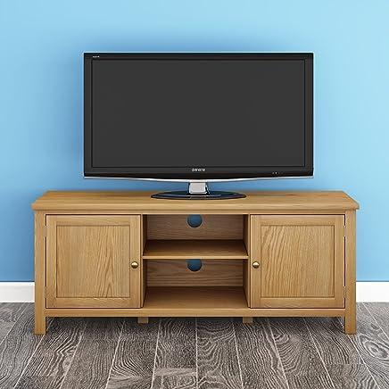 Keinode Mueble de TV Moderno de Roble Macizo para Esquina de TV, 2 Puertas, 2 estantes, Unidad de Almacenamiento de DVD para Sala de Estar o Dormitorio Type B