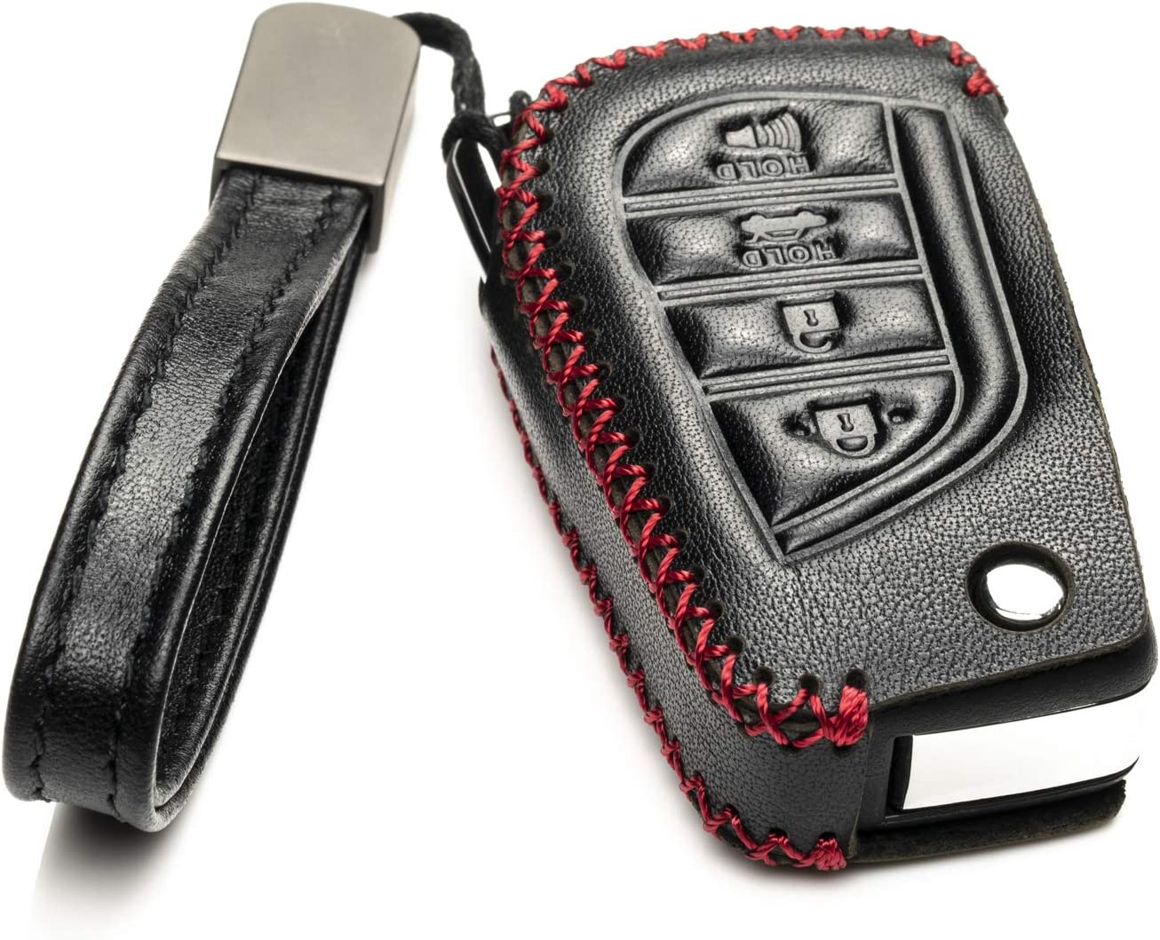Vitodeco Genuine Leather Flip Key Fob Case Cover Protector with Key Chain for 2018-2021 Toyota Camry 4-Button, Black Corolla