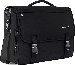 Laptop Messenger Bag Black, Waterproof Travel Messenger Bags for Men,Crossbody Briefcases Satchel Shoulder Bag for Women School Teens Fit 15.6Inch Laptop Canvas Office with Detachable Shoulder Strap