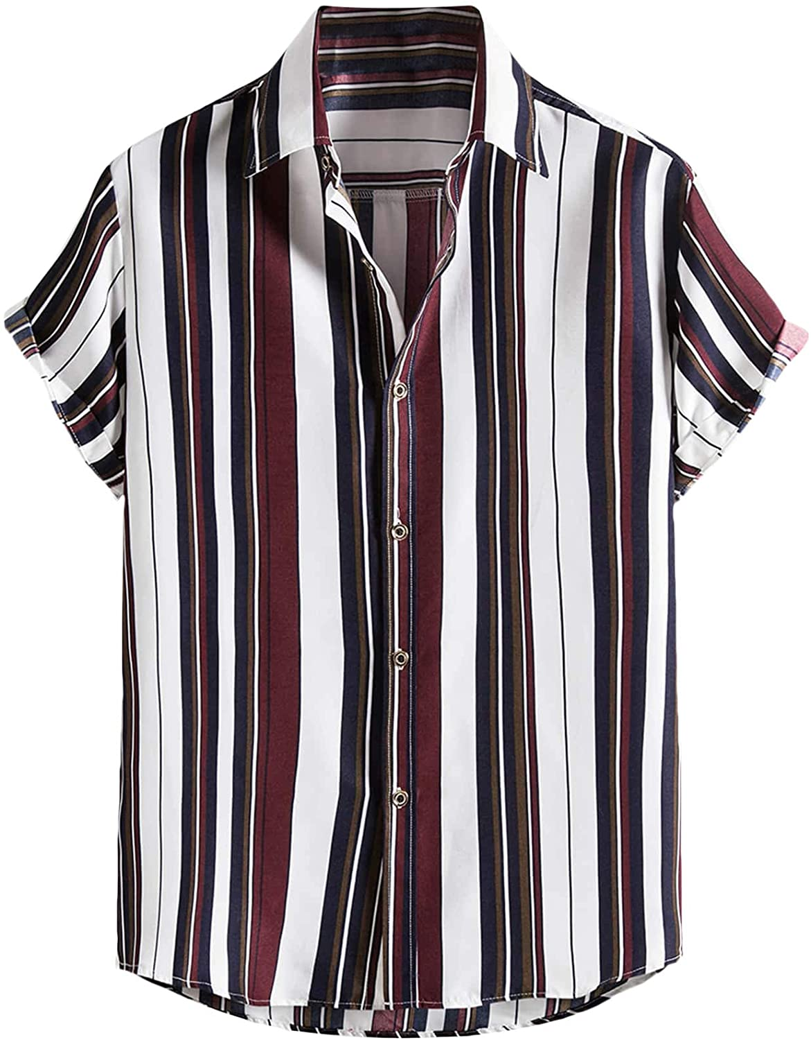 Floerns Men's Striped Shirts Casual Short Sleeve Button Down Shirts