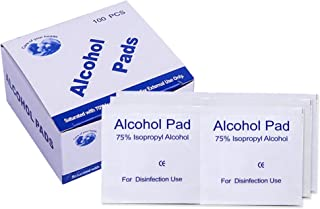 100 Pcs 75% Alcohol Cotton Slices, Alcohol Gauze Pads Individually Wrapped Swap Pad for Cleaning Care Mobile Phone Nail Computer 6 x 6cm/2.4in x 2.4in