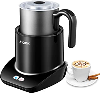 Milk Frother, Aicook 300ml Large Capacity Milk Frother Electric, Removable Dishwasher Safe Milk frother, Automatic Silent Operation Cold Hot Milk Frother Handheld, Latte Cappuccino Coffee Heater