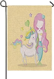 Beabes Mermaid Garden Flag Cartoon Unicorn Drawing Cute Girl Pony Princess Star Heart Summer Seasonal Garden Flag Outdoor ...