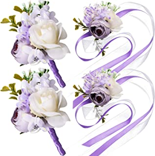 Maitys Wrist Corsage and Boutonniere Set Buttonholes for Women and Men Corsage Wristband Roses Wedding Accessories for Groom Groomsman Brides Prom (4, Purple)
