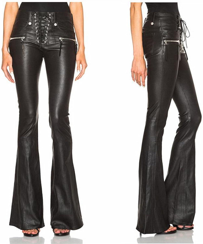 Water wash PU Lacing Leather Pants Punk Drawstring Slim Hip Bag Slim Big Boot Cut Trousers