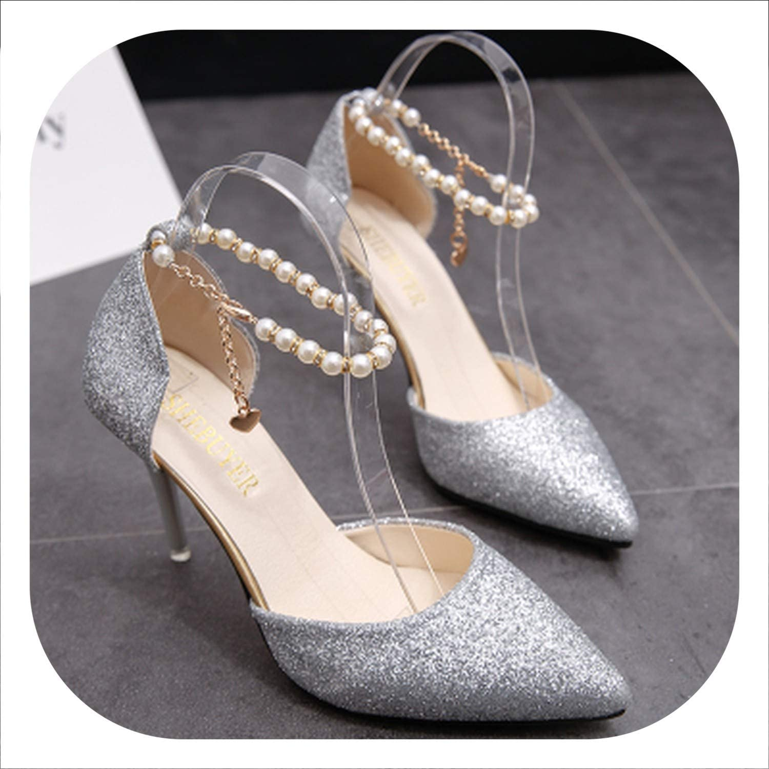 HANBINGPO 2019 Summer High-Heeled Sandals Female Beaded Pointed shoes with fine Tide shoes