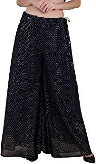 Shararat Loose Wide Checkered Print Flared Georgette Palazzo Pants | High Waist Casual Trousers