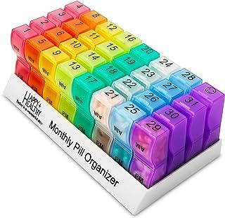 MEDca Monthly Pill Organizer Am/Pm Daily Pill Organizer 32 Compartments for Each Day, Pill Dispenser Dispenser Caddy That ...
