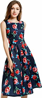 Blooming Jelly Women's Vintage 1950's Scoop Neck Sleeveless Floral Party Swing Cocktail Dress