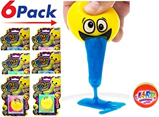JA-RU Emoji Barf Ooze Slime Stress Ball (6 Pack Assorted) Relief Squeeze Squishy Stress Slime Putty Ball Kit Party Favors Pinata Filler   Item #5299-6p