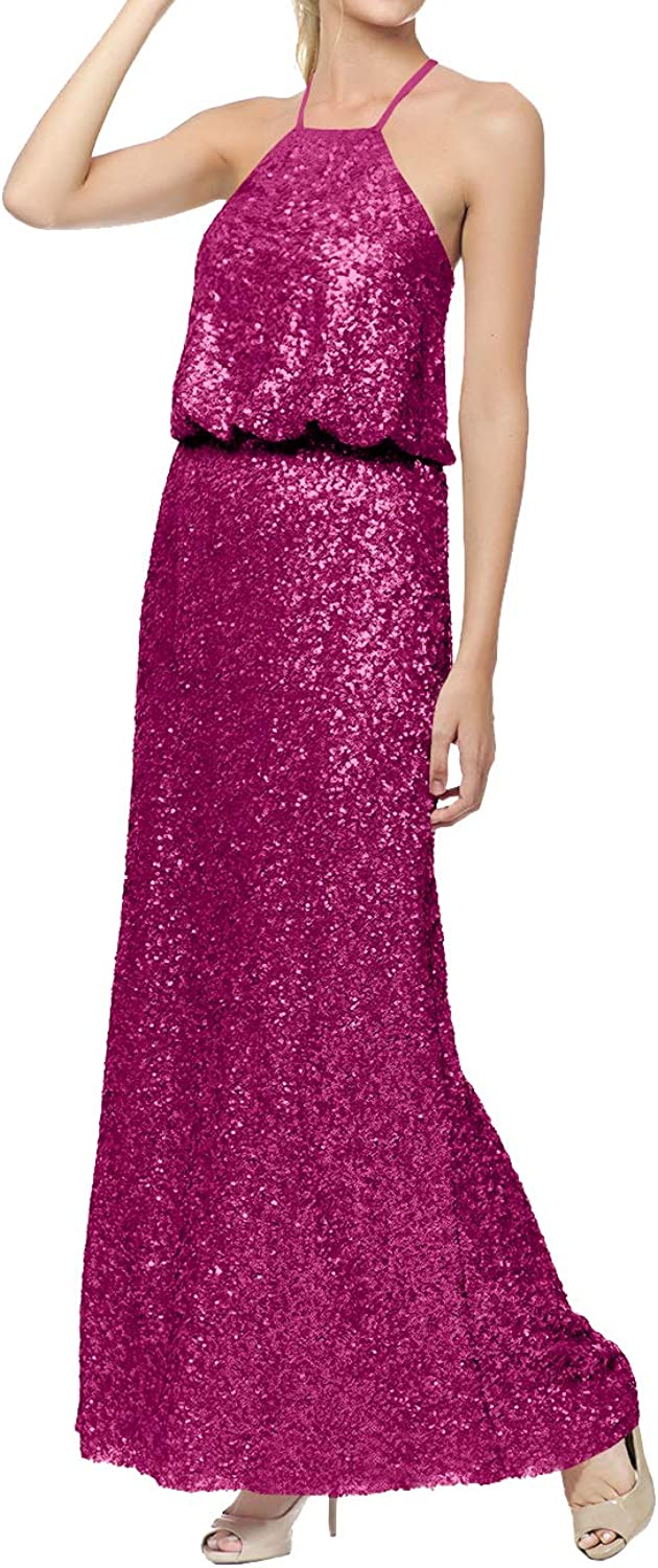 Bridesmaid Dress Halter Sequin Long Evening Prom Dress Sleeveless Plus Size