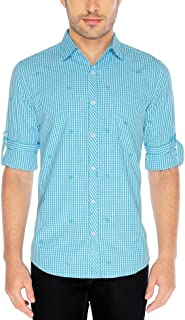 Nick&Jess Mens Aqua Embroidered Slim Fit Casual Check Shirt