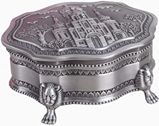Limlook Decorative Antique Castle Engraved Silver Trinket Box Velvet Lined, Ornate Metal Small Jewelry Treasure Box Hinged Lid Footed Standing Keepsake Box (Silver)