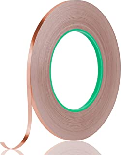 Tifanso Double Sided Conductive Copper Foil Tape Adhesive for EMI Shielding, Electrical Repairs, Guitar, Crafting, Garden...