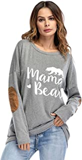 Women's Casual Long Sleeve Sweatshirts, Crew Neck Elbow Patch T-Shirts Tops Loose Blouse