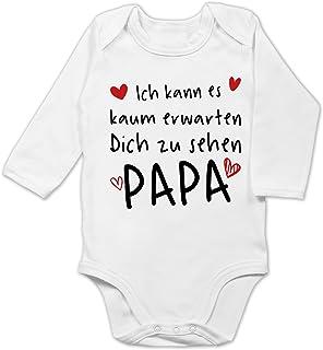 Shirtracer Vatertagsgeschenk Tochter & Sohn Baby - Ich kann es kaum erwarten Dich zu sehen Papa Herzen schwarz - Baby Body Langarm