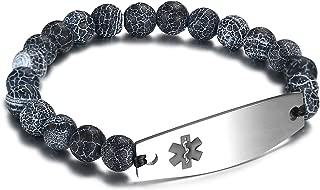 Tiger Eye Beaded Medical Alert ID Bracelet for Men and Women,Free Engraving,7.5 inch