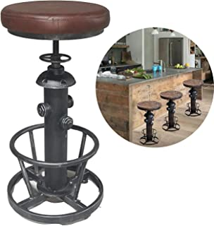 Topower American Antique Industrial Round Bottom Adjustable Height Cafe Coffee Retro Vintage Stylish Water Pipe Design Pub Kitchen Bar Stool (Silver, PU Leather)