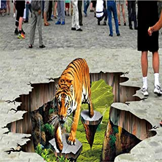 Custom Photo 3D Flooring Mural Self - Adhesion Sticker 3D Tiger Outdoors to Draw Painting 3D Wall Murals Wallpaper,140X100cm