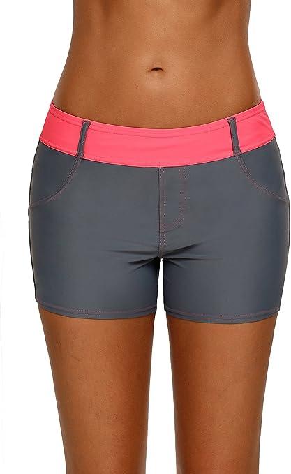 EVALESS Women Solid Swimsuit Tankini Bottom Plus Size Boy Leg Swim Shorts Stretch Medium Green
