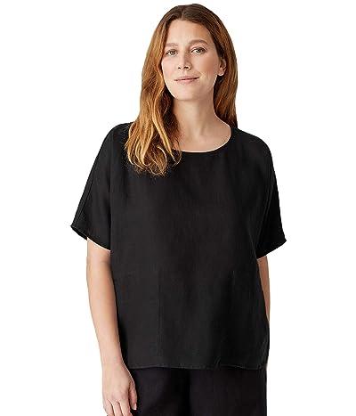 Eileen Fisher Round Neck Boxy Top in Organic Handkerchief Linen