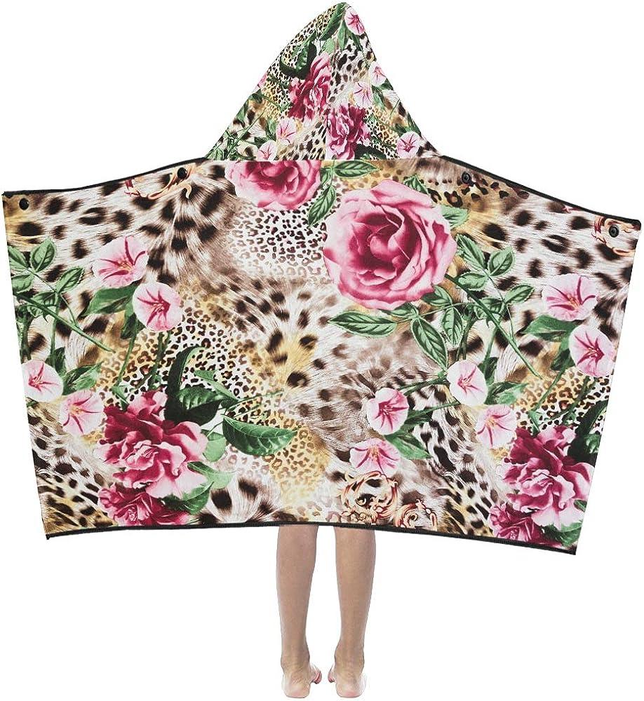 Hooded Blanket for Kids Animal Max 52% OFF Tiger Rose Finally popular brand K Leopard Print Flower
