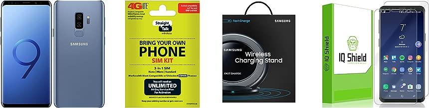 Straight Talk Samsung Galaxy S9 Blue 64GB SM-G960UZ Comes With A Straight Talk CDMA BYOP Sim Card Kit & A IQ Shield Full Body Screen Protector Applied & A Samsung Wireless Charging Stand Bundle