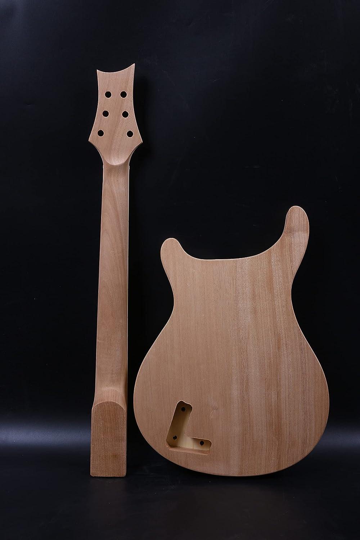 1 Unids Guitarras Kit Cuello 22fret Inacabado Guitarra Cuerpo Semi Hueco Caoba Arce Diapasón DIY Guitarra