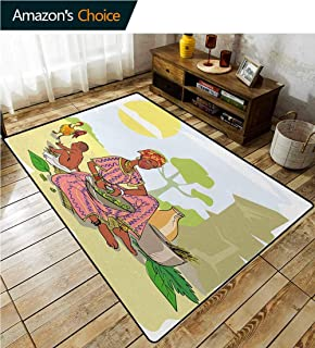 YucouHome Woman Decorative Area Rug Girls Room, Mother with Her Baby Cooking Dinner Time Rooster Vegetables Maternity Theme, Easy Maintenance Area Rug Living Room Bedroom Carpet(2'x 6') Multicolor